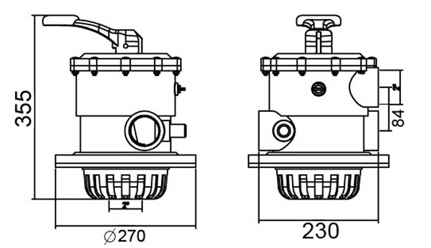 Габаритные размеры вентиля 6-ти позиционного Emaux MPV02: