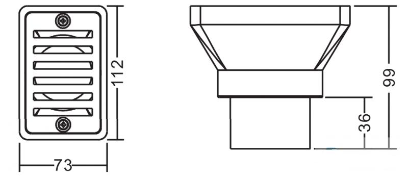 Габаритные размеры выпуска из переливного лотка Emaux EM2819E (под плитку):